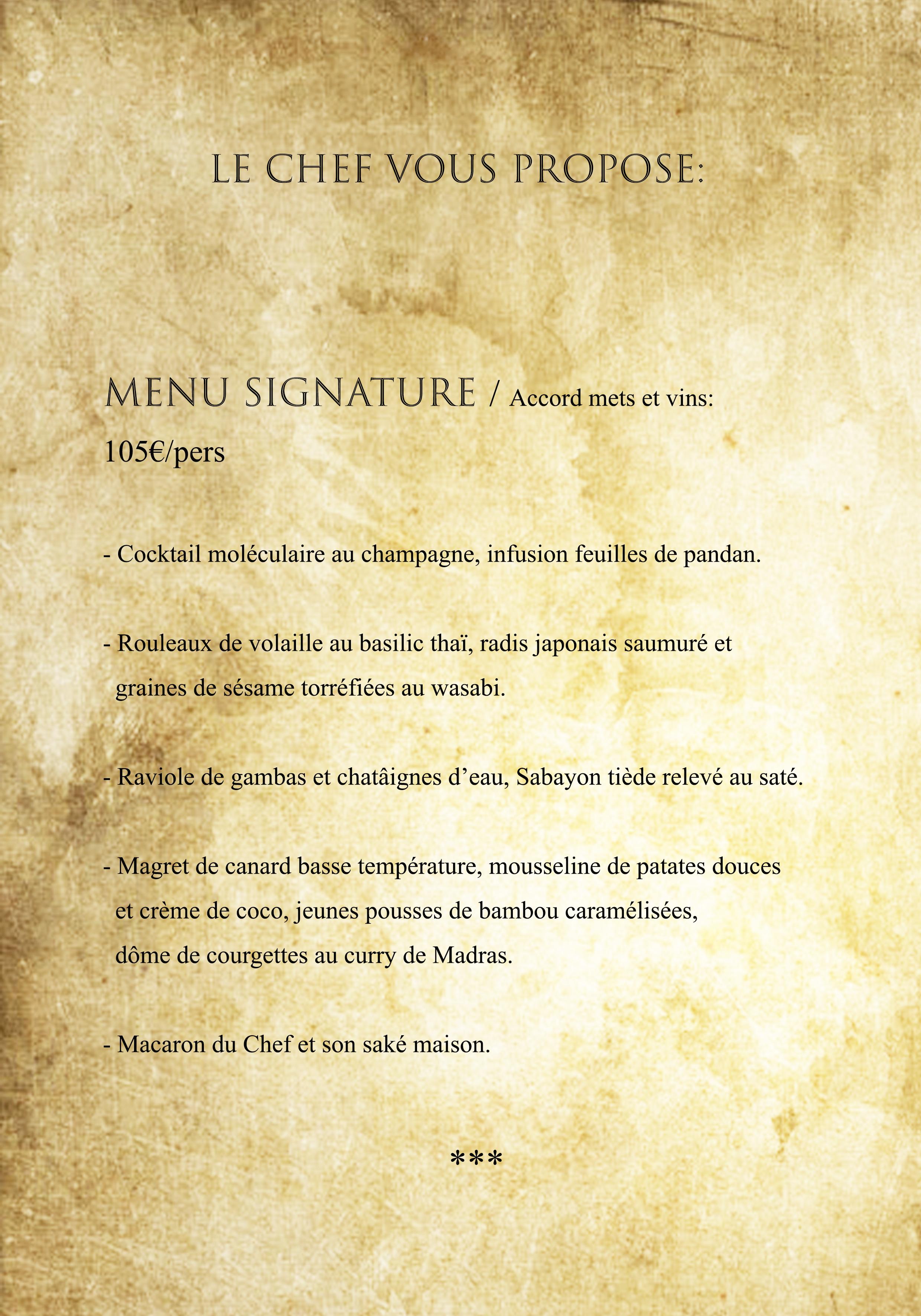 Menu Signature FT 2020
